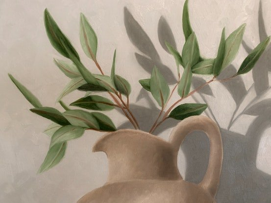 (CreativeWork) Eucalyptus Still Life  by Ashley Bunting. Oil Paint. Shop online at Bluethumb.