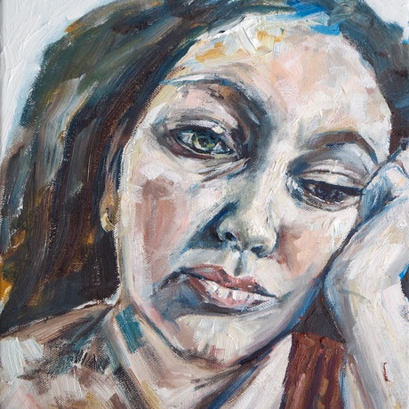 (CreativeWork) Introspection - A Self Portrait by Michelle Keighley. Oil Paint. Shop online at Bluethumb.