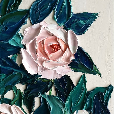 (CreativeWork) Amy's Roses 3 by Angela Hawkey. Oil Paint. Shop online at Bluethumb.