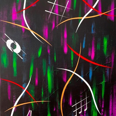 (CreativeWork) DARK VIBRATIONS by Rick Smith. Acrylic Paint. Shop online at Bluethumb.