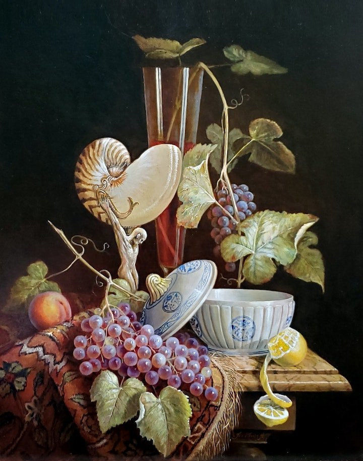 """(CreativeWork) """"The Nautilus shell ornament""""  by Jos Kivits. Oil Paint. Shop online at Bluethumb."""