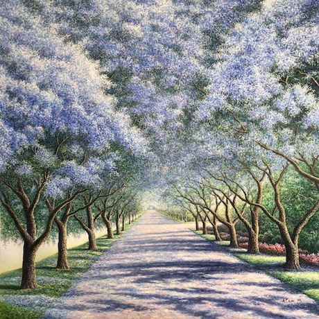 (CreativeWork) Jacaranda Flowers-2 by Alex Mo. Oil Paint. Shop online at Bluethumb.