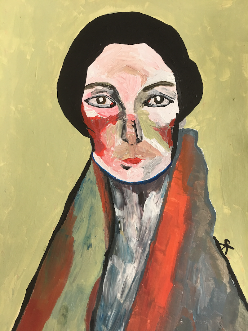 (CreativeWork) Lady Von Shnitzel - framed by Kate Rogers. Acrylic Paint. Shop online at Bluethumb.
