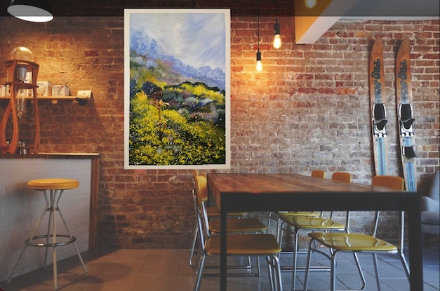 (CreativeWork) 'SPRING MOUNTAIN'  by Susan Capan. Acrylic Paint. Shop online at Bluethumb.
