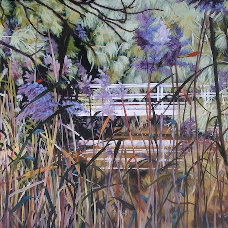 (CreativeWork) Through the Rushes by Hetty Thompson. Acrylic Paint. Shop online at Bluethumb.