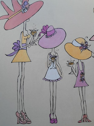 (CreativeWork) Champagne @ the races 2020 style by Andrea Berry. Acrylic Paint. Shop online at Bluethumb.
