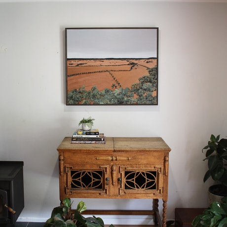 (CreativeWork) The Farmer by Nic Everist. Acrylic. Shop online at Bluethumb.