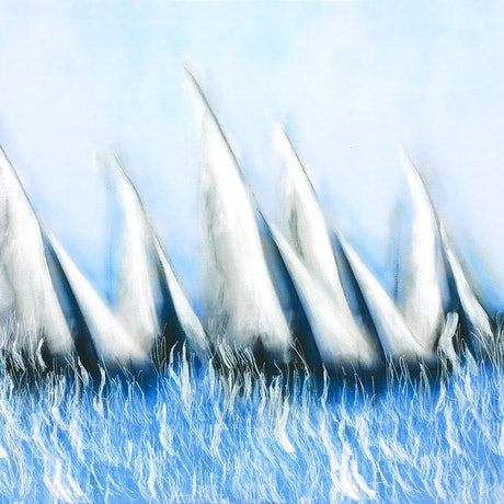 (CreativeWork) On Tack 2 - yachts on the ocean, medium size, blue water by Bruce Peebles. Acrylic Paint. Shop online at Bluethumb.