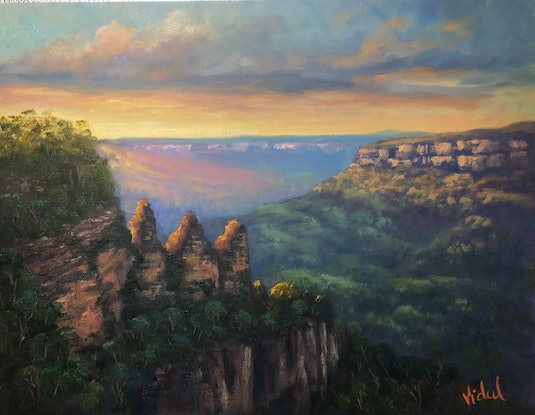 (CreativeWork)  Morning light on Three Sisters, Katoomba- Oil on stretched linen - ready to hang by Christopher Vidal. Oil Paint. Shop online at Bluethumb.