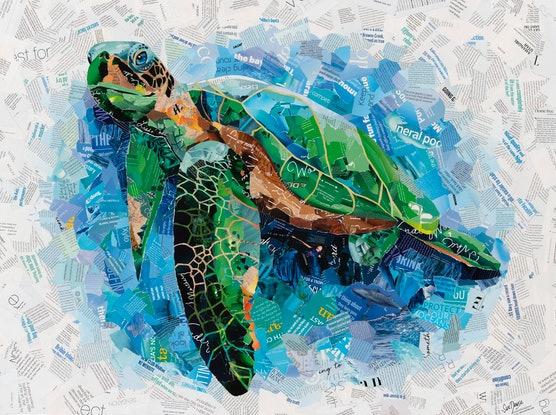 (CreativeWork) Blue Water Sea Turtle by Sue Dowse. Mixed Media. Shop online at Bluethumb.