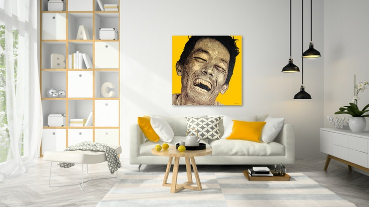 (CreativeWork) Yohei - laughing in the face of depression by Edward Trost. Mixed Media. Shop online at Bluethumb.
