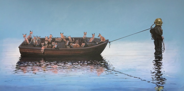(CreativeWork) Resettlement by Ross Morgan. Acrylic Paint. Shop online at Bluethumb.