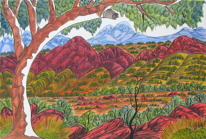 (CreativeWork) Finke Gorge National Park, NT (NGUR10MRA10437L) by Marie Abbott. Watercolour Paint. Shop online at Bluethumb.
