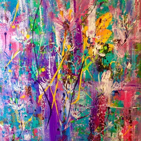 (CreativeWork) Enchanted Garden by Terina Jones. Acrylic Paint. Shop online at Bluethumb.