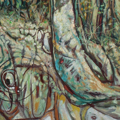 (CreativeWork) Remnant - Toohey Forest with Fox by Laing Rahner. Acrylic Paint. Shop online at Bluethumb.