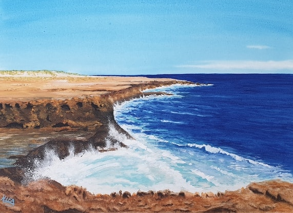 (CreativeWork) Jagged Rocky Coast of McCleod by Harry Lea. Watercolour Paint. Shop online at Bluethumb.