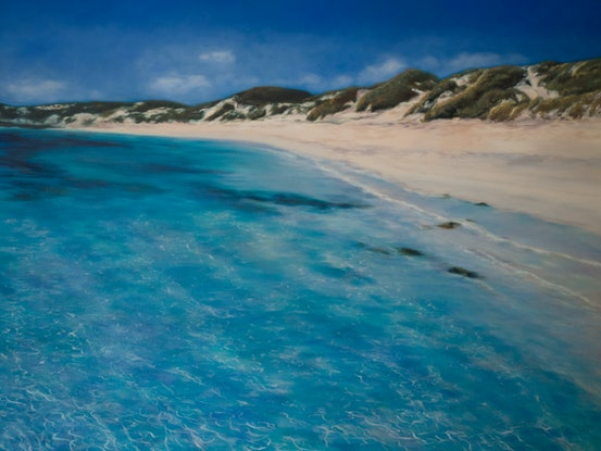 (CreativeWork) Just Another Perfect Day - original oil painting beach landscape Rottnest island WA by Mia Laing. Oil Paint. Shop online at Bluethumb.