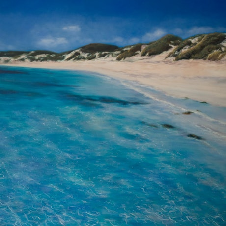(CreativeWork) Just Another Perfect Day - original oil painting beach landscape by Mia Laing. Oil Paint. Shop online at Bluethumb.