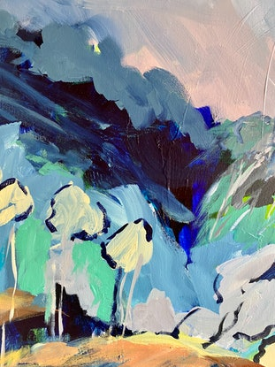 (CreativeWork) Mystical Land by Sue Woolnough. Acrylic Paint. Shop online at Bluethumb.