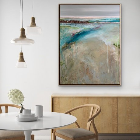 (CreativeWork) Coastal Dream 76 x 102 Large Beachscape by Tania Chanter. Acrylic Paint. Shop online at Bluethumb.