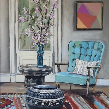 (CreativeWork) The blue chair by Gina Fishman. Acrylic Paint. Shop online at Bluethumb.