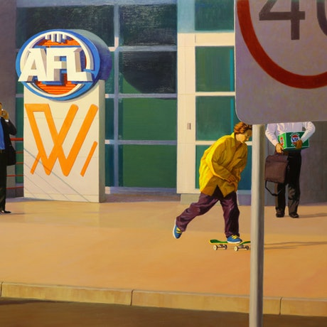 (CreativeWork) AFL by Grace Huang. Oil Paint. Shop online at Bluethumb.