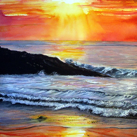 (CreativeWork) Sunset Glow (Framed) by Linda Callaghan. Mixed Media. Shop online at Bluethumb.