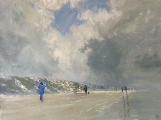 (CreativeWork) Coats at the beach - beachscape by Mike Barr. Acrylic Paint. Shop online at Bluethumb.