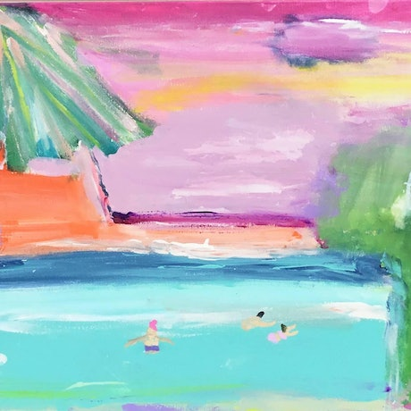 (CreativeWork) Paradise beach 1 by Connie krol ART. Acrylic Paint. Shop online at Bluethumb.