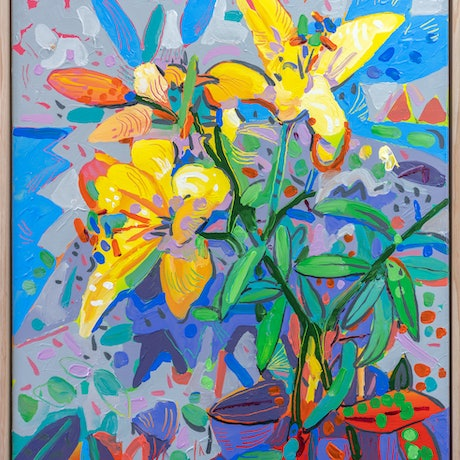 (CreativeWork) Yellow Lily Flowers - Framed by Joseph Villanueva. Acrylic Paint. Shop online at Bluethumb.