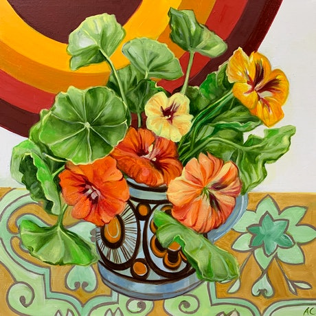 (CreativeWork) Retro Pop Nasturtiums and the 70's favourites by Alicia Cornwell. Oil Paint. Shop online at Bluethumb.