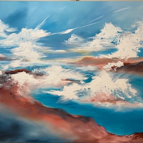 (CreativeWork) Walking on clouds (large scale 153x102cm)    by Kat Las. Acrylic. Shop online at Bluethumb.