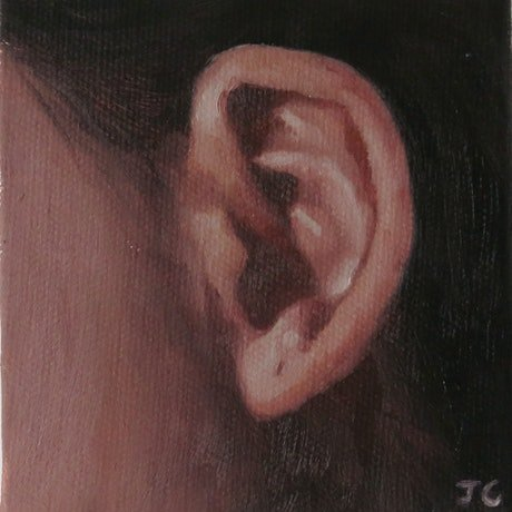 (CreativeWork) Ear II by Jemma Cakebread. Oil Paint. Shop online at Bluethumb.