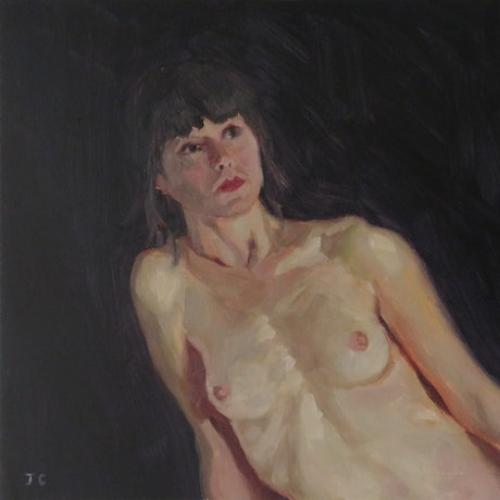 (CreativeWork) Leaning Woman by Jemma Cakebread. Oil Paint. Shop online at Bluethumb.