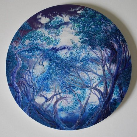(CreativeWork) Night Trees, finding a way by sharon waldron blaschke. Oil. Shop online at Bluethumb.