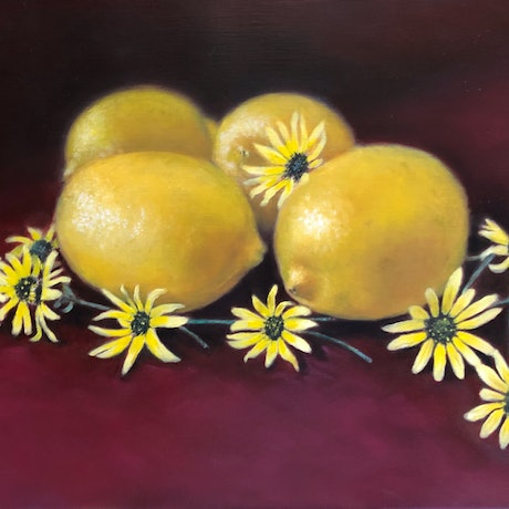 (CreativeWork) Lemons and Daisies by Melissa Kenihan. Oil Paint. Shop online at Bluethumb.