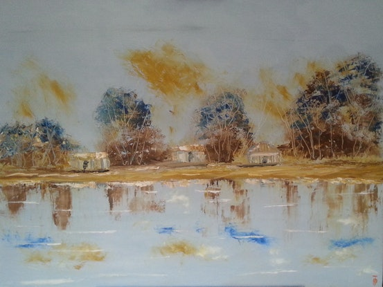 (CreativeWork) Shacks On The River. by owen jones. Oil Paint. Shop online at Bluethumb.