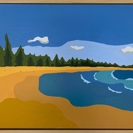 (CreativeWork) Sundays are for Surfing  by Luke Mannion. Acrylic Paint. Shop online at Bluethumb.