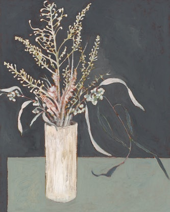 (CreativeWork) White On Grey by Bronwen Hunt. Oil Paint. Shop online at Bluethumb.