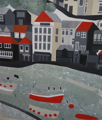 (CreativeWork) St Ives Harbour by Cathy Beckwith. Acrylic Paint. Shop online at Bluethumb.