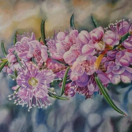 (CreativeWork) Swan River Myrtle Hypocalymma robustrum by Delma White. Oil Paint. Shop online at Bluethumb.
