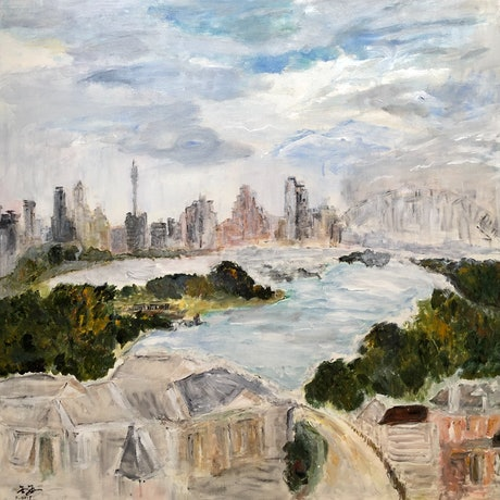 (CreativeWork) Sydney harbour view by jin Jin. Acrylic Paint. Shop online at Bluethumb.