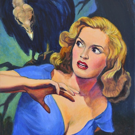 woman in forest with vulture