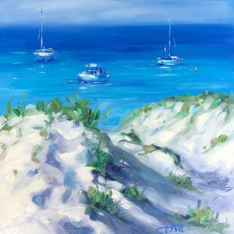 (CreativeWork) Calm Waters Rottnest by Jo Meredith. Oil Paint. Shop online at Bluethumb.