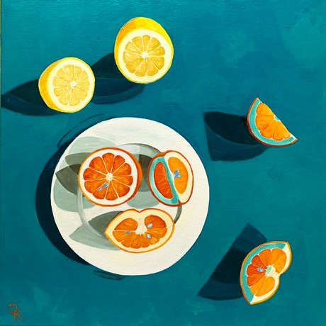 (CreativeWork) Blood Orange & A Lemon by Dominika Keller. Acrylic Paint. Shop online at Bluethumb.