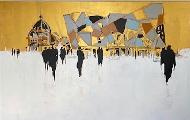 (CreativeWork) Melbourne Federation Square by John Reeve. Oil Paint. Shop online at Bluethumb.