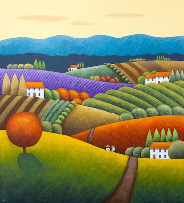 (CreativeWork) Sunshine Fields by Kate Graham. Acrylic Paint. Shop online at Bluethumb.