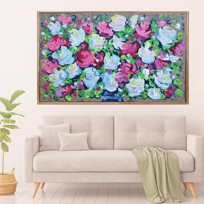 (CreativeWork) Bouquet One Framed in Oak by Belinda Nadwie. Oil Paint. Shop online at Bluethumb.