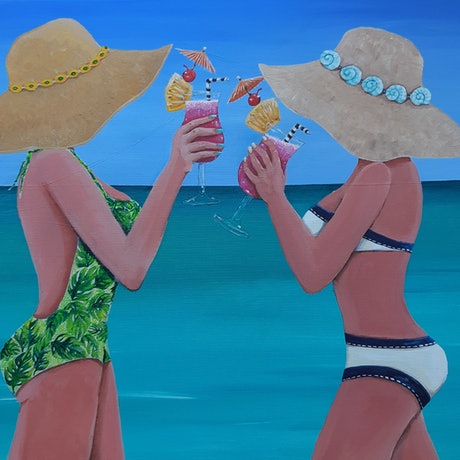 (CreativeWork) Beach @ Bali cocktails by Andrea Berry. Acrylic Paint. Shop online at Bluethumb.