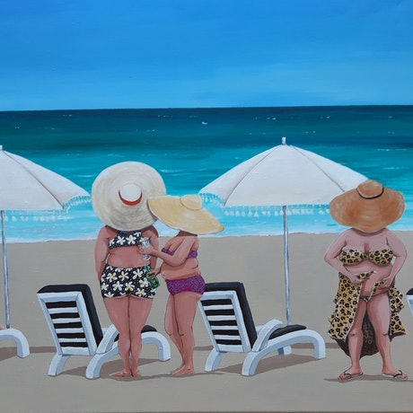 (CreativeWork) Missing the beach @ Bali vibes by Andrea Berry. Acrylic Paint. Shop online at Bluethumb.